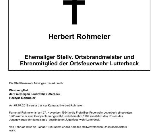 Trauer um Herbert Rohmeier